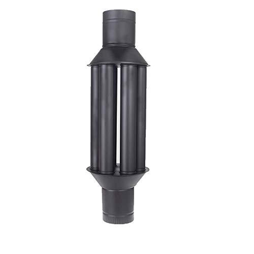 Vulkan Abgaswärmetauscher Warmlufttauscher XL Rauchgaskühler 150mm schwarz Rauchrohr Ofenrohr Kaminrohr Energie sparen Leichte Reinigung Einfacher Einbau Abgasrohr Öfen 6 Rohre mit Dämpfer Stahlblech