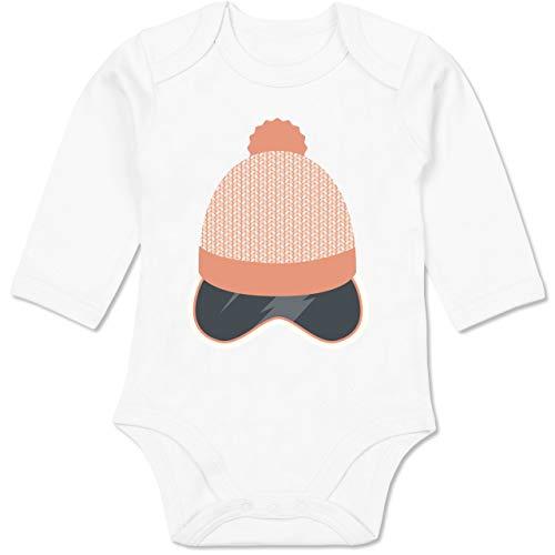 Sport Baby - Ski Snowboard Brille Mütze - 6/12 Monate - Weiß - Sport Snowboard - BZ30 - Baby Body Langarm