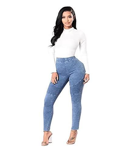 SCYDAO Gambe Lunghe con Jeans Sottili A Vita Alta da Donna E Pantaloni in Denim in Denim Ad Alta Elasticità,Light Blue,M