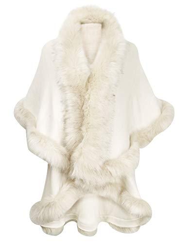 ZLYC Damen feinstrick vorne offen webpelzbesatz Schichten Poncho Strickjacke, Einheitsgröße, Weiß