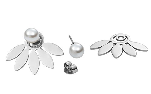 Heideman Ohrringe Damen Flora 5 aus Edelstahl silber farbend poliert Ohrstecker für Frauen 2 in 1 Doppelstecker mit Swarovski Perle weiss rund 6mm