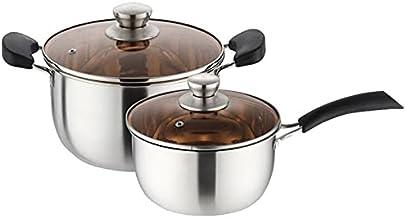 Stainless steel soup pot thickened double-bottom household double ear soup pot porridge noodle soup pot single handle milk...