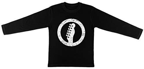 Telecaster Kop, Wit Kinderen Unisex T-shirt Lange Mouw Jongens Meisjes Zwart Kids Unisex T-shirt Long Sleeve Boys Girls Black