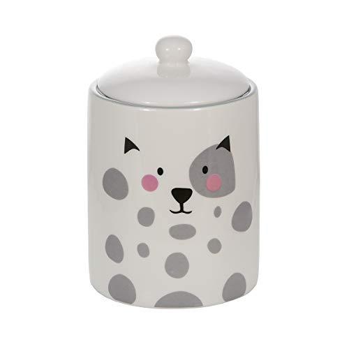 Keramik Vorratsdose mit Deckel, Küchen Aufbewahrungsdose, Küche Aufbewahrung, weiß mit Katzen-motiv Geschenk für Katzenliebhaber