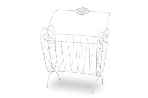 DISRAELI Porta riviste in Ferro Bianco 35,5x18,5xh50,5 cm
