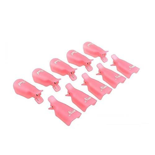 10pcs plastique acrylique Nail Art Soak Off Cap clip Gel Uv Polish Remover Wrap Cleaner clip Cap Rose outil