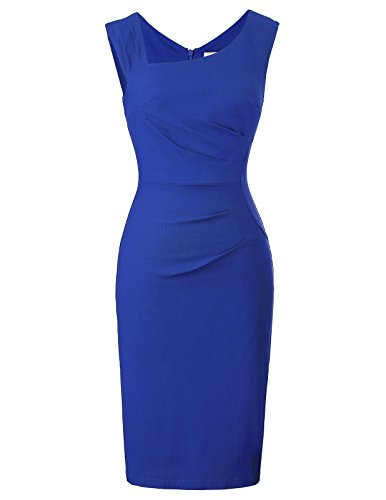 Belle Poque bleistiftkleid Knielang Rockabilly Pencil Kleid Damen sexy Stretch Bodycon Kleid blau etuikleid M BP302-4