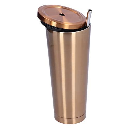 Taza de agua Vaso de acero inoxidable aislado al vacío de 16 oz 700 ml Moderno de doble pared con pajita y voltereta de 9.4 in, Taza de viaje de café con estilo portátil y liviana (oro)