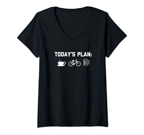 Donna Funny Bike Shirt: Today's Plan T-Shirt funny bicycle cycling Maglietta con Collo a V