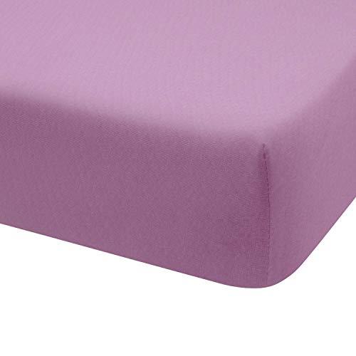 Montse Interiors Sábana Bajera Ajustable Punto Jersey Algodón 100% Jersey (para Cama de 135x190/200, Lila)