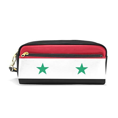 Federmäppchen mit Motiv Flagge der syrischen Flagge, PU-Leder