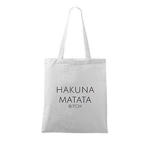 OwnDesigner Stoffbeutel mit hakuna matata Spruch/verschiedene Sprüche/lange Henkel/Rucksack/Turnbeutel (95-A900-Weiß)