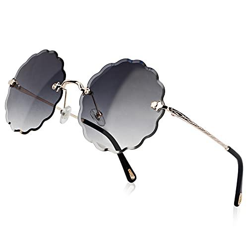 YTJHFA Gafas de sol sin montura bonitas para mujer, gafas de moda unisex de gran tamaño, gafas polarizadas vintage para adolescentes, montura de metal en la nube, negro
