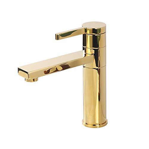 Badezimmer-Hahn, gebürstet Gold Messing Deck montiert Single HOL mit Griff Kalt- und Warmmisch Waschbecken Wasserhahn,Matte Black b