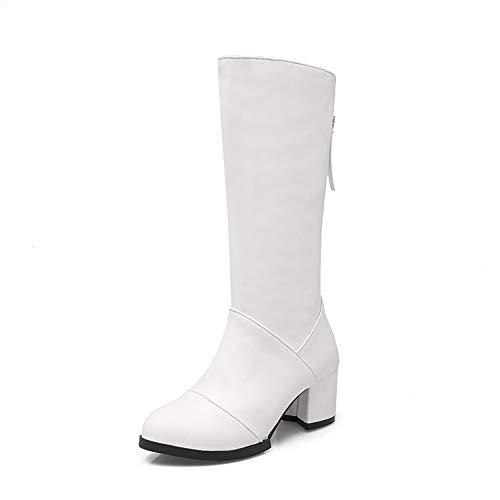 Botas Largas para Mujer Botas Altas Tacón Grueso Sexy Botas Altas hasta La Rodilla Zapatos de Vestir Primavera Otoño,Blanco,43