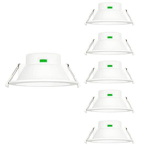 12W LED Einbauleuchten Einbaulampen Einbau Deckenleuchten Feuchtraum Flach 3000K 4000K 5000K Einstellbar 1100Lm Lochdurchmesser 120-140MM Ohne Trafo 6er Lampen von Enuotek