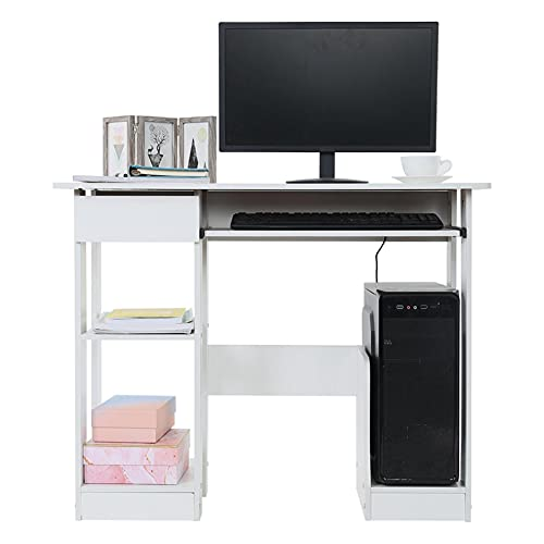 AIBEN Computer Desk with Hutch and Drawers | 35' White Home Office Desktop Table with Keyboard Tray | Made of MDF | Ergonomic Design | Modern Simple Style Working Writing Study Desk Laptop Table