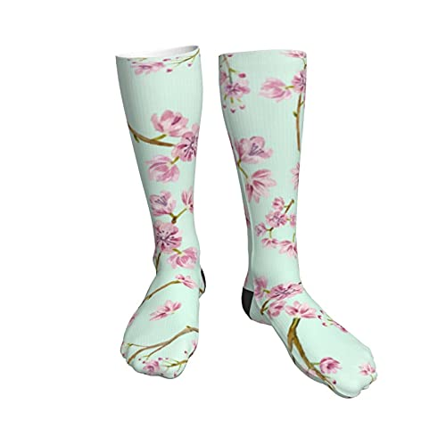 Spring Flowers Mint And Pink Cherry Blossom Womens Socks,50cm Athletic Tube Socks Over The Calf Stockings Non See Through Cute Cartoon Thigh High Stockings Comfort Breathable Casual Socks