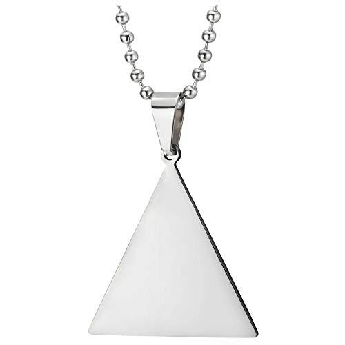 COOLSTEELANDBEYOND Acero Inoxidable Triángulo Pirámide Colgante, Hombre Mujer Collar, Bola Cadena 60CM, Dos Caras Pulido y Satinado