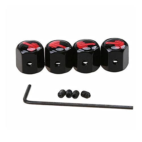 LIUWEI 4 unids Anti-Robo Car Válvulas de neumáticos Tallo Tapa de Aire Caps Auto Accesorios Ajuste para BMW Audi Toyota Nissan Skoda VW (Color : Black)