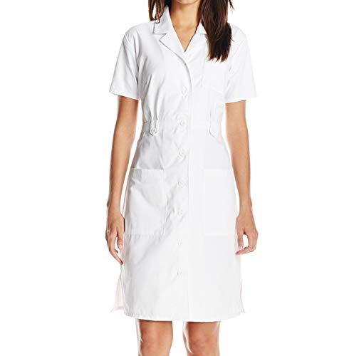 Dickies Women's Button Front Scrubs Dress, White, XX-Large