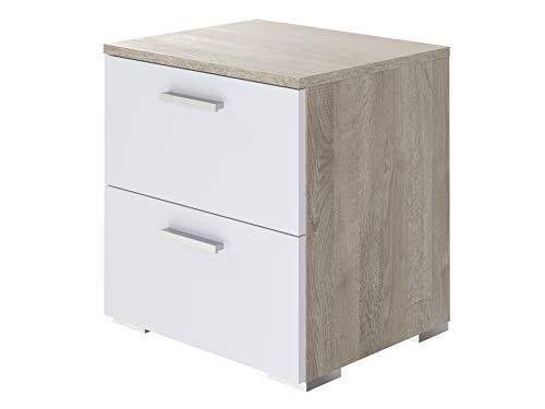 Amazon Marke -Movian Kolva moderner  Nachttisch mit 2 Schubladen, 47 x 45 x 38 cm, Eiche Optik