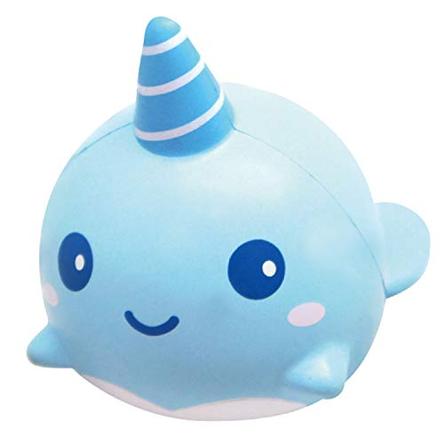 ibloom Billie The Whale Cute Animal Slow Rising Squishy Toy (Light Blue, Mint Scented, 4 Inch) [Kawaii Squishies for Birthday Gift Boxes, Party Favors, Stress Balls for Kids, Girls, Boys, Adults]