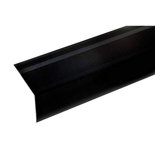 acerto 51040 Perfil angular de aluminio - 100cm 55x69mm bronce oscuro * Antideslizante * Robusto * Fácil instalación | Perfil de peldaño de escalera perfil de peldaño de aluminio