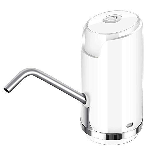 CLL Flaschen-WASSERSPENDER - Nachfüllbare Trinkwasser-Wasserpumpe Schnelle elektrische Pumpflasche Schnurloser Gallonen-Universalspender mit Wasserpumpe, Weiß