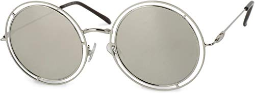 styleBREAKER Sonnenbrille verspiegelt mit runden, flachen Gläsern und doppelter Umrandung, Unisex 09020067, Farbe:Gestell Silber/Glas Silber verspiegelt