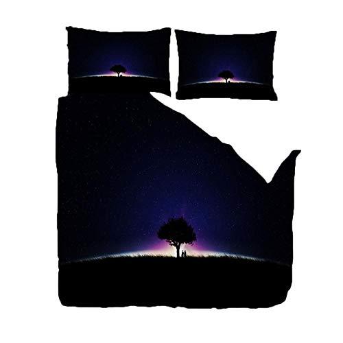 RGBVVM Funda de Edredón 140 x 200 cm Árbol de la Aurora del Cielo Nocturno Impresión 3D Microfibra Funda de Nórdica 140x200 cm y 2 Almohada 50x75 cm