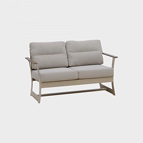 dafnedesign. com – divano-sofà de jardin deux places, largeur : 76 cm – hauteur : 73 cm – Longueur : 128 cm, 22,4 kg./0,70 M3 – avec coussins anti-taches, coloris blanc et gris clair, structure en aluminium, facile à nettoyer, résistant à l'usure et aux intempéries, bordure de mérite – (F1)