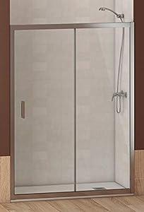 ALABAMA Mampara Frontal de ducha, Easy Clean, Medidas 120 x 195 cm, Cristal 6 mm grosor, Cromo-Transparente, Mampara Ducha, Hoja Fija Corredera Modular Rectangular Perfil Aluminio Cromado