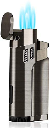 Torch Lighter Refillable Fuel Butane Torch Lighters 4 Jet Lighter with Punch Quad Flame Lighter Gas Fluid Torch Butane Lighters-Butane NOT Included (Black)