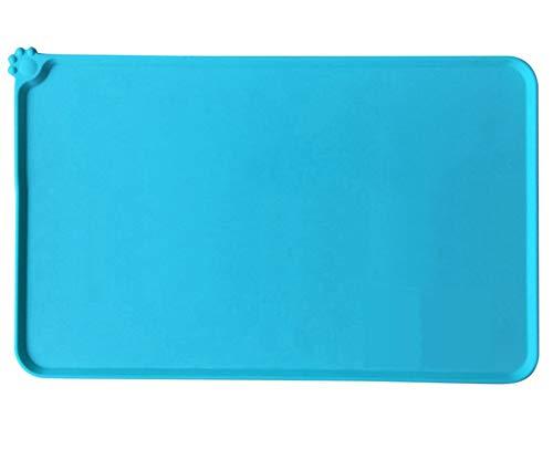ANQI - Alfombrilla antideslizante para comida de mascotas, impermeable, silicona para gatos y perros, mantel individual de borde elevado para mascotas, fácil de limpiar, tamaño grande, 47 x 30 cm, color verde