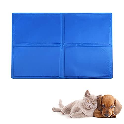 YMINA Kühlmatte Hund Ungiftiges Gel Kühldecke für Kleine Mittelgroße und Grosse Hundedecke Kissen Kühlmatte Katze Hundebett Sommer Innen Haustiere 65x50cm Blau, M