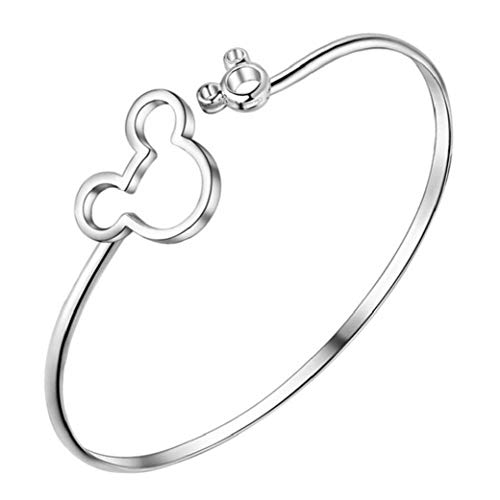 Minnie Mickey Mouse Bracelet Kawaii Style Copper Alloy Material Silver Plated Bangle Trendy Fashion Women Gift Modeling Accessories