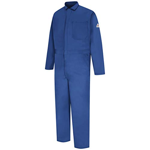 Bulwark Men's Flame Resistant 9 oz Twill Cotton Classic Coverall with Hemmed Sleeves, Royal Blue, 60