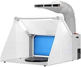 VIVOHOME Portable Airbrush Paint Spray Booth Kit with 3 LED Lights Turn Table and Filter Hose for Model Cake Craft Nail Toy Part