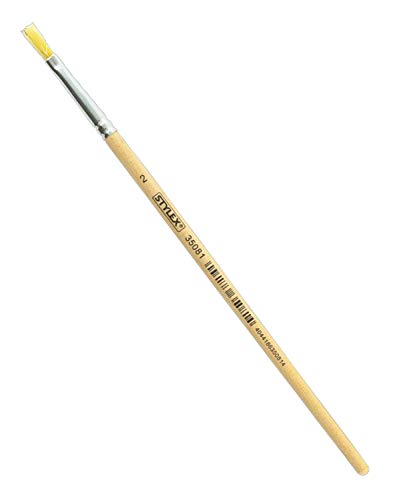Stylex 35081 - Flacher Borstenpinsel in den Größe Nr. 2, naturbelassener Stiel, zum Malen mit Deck-, Tempera, Aquarell-, Öl- und Acrylfarben, ideal auch für die Schule