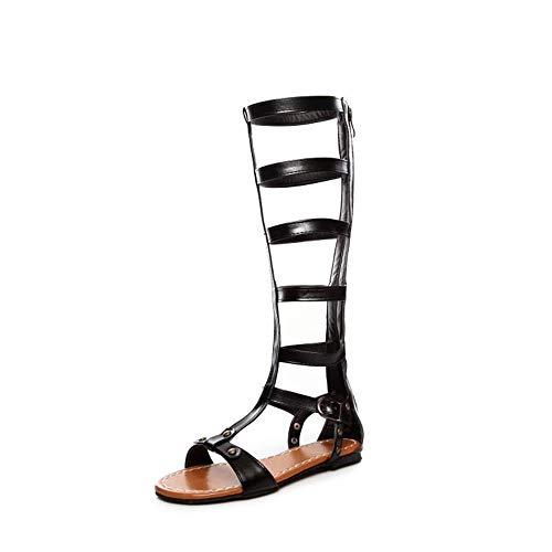 Wangjia Damen Sandalen Flache Schuhe, Ausgeschnitten Gladiator Sandalen Flache Kniehohe Stiefel, Damen Knie Hoher Knöchelriemen Offene Zehen Römische Gladiator Sandalen Lässiger Strandurlaub Sommer