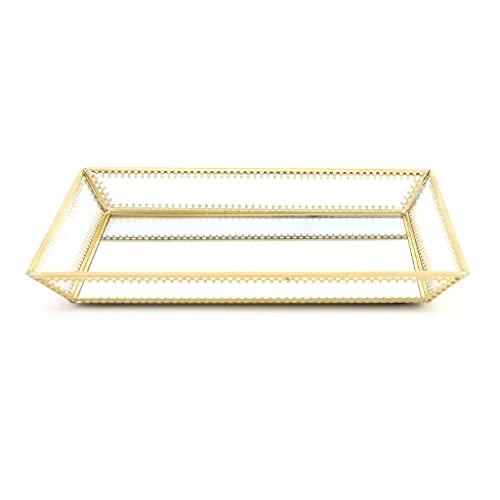 Joyero rectangular para niñas, organizador de espejo dorado, bandeja de joyería, bandeja de perfumes, bandeja de maquillaje, bandeja de cristal y metal para baño