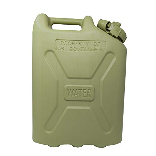 Tacticai Green Military Water Can, 5-Gallon Water Container, Water Storage Jug, Heavy-Duty Military Grade, BPA Free Plastic for Camping, Survival, Emergency, Sports or Outdoor Use - Made in USA