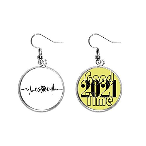 Ohrringe mit Kaffee-Zitat, Art-Deco-Geschenk, modische Ohrringe, Ohranhänger, Schmuck 2021 Viel Glück