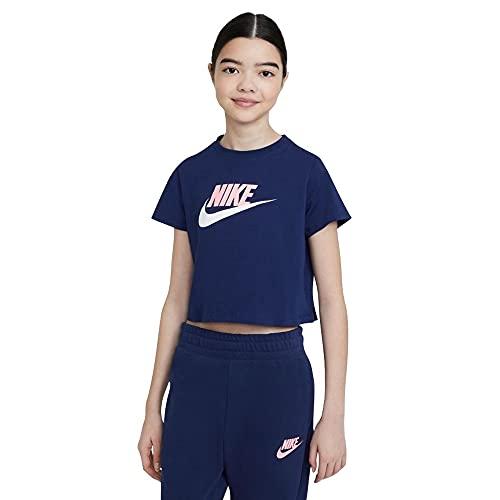 NIKE DA6925-492 G NSW tee Crop Futura T-Shirt Girls Blue Void/Arctic Punch S