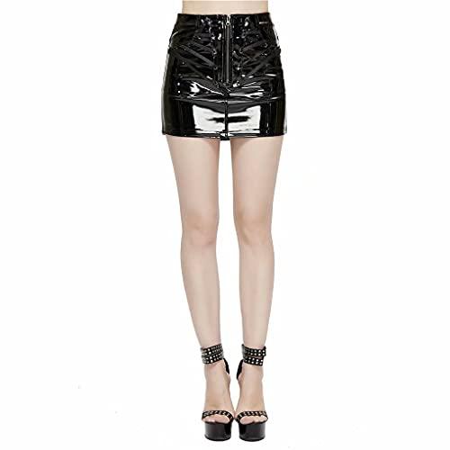 Devil Fashion Falda de Cuero de Diablo Moda de Cuero de imitación de Cintura Alta ceñido al Cuerpo con Cremallera Delgada Mini Falda de línea a Mujer Ropa gótica Motocicleta