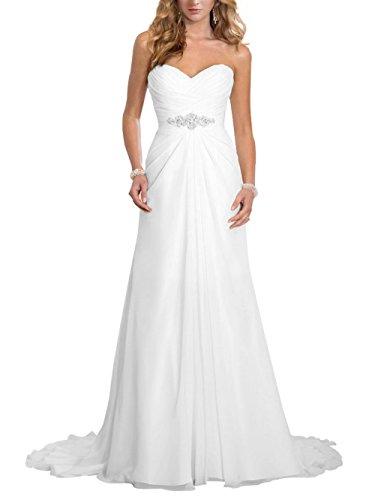 Brautkleid Lang Hochzeitskleider Damen Brautmode Chiffon Strand A Linie mit Schleppe Weiß EUR42