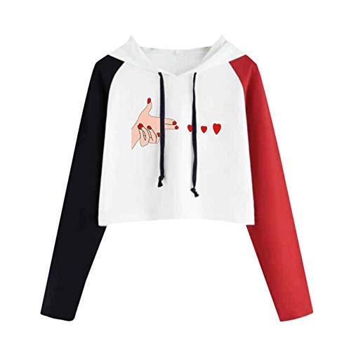 Sudadera corta con capucha para mujer y adolescente con estampado de corazones de raglán, manga larga, con cordón, ligera, con estampado de corazones