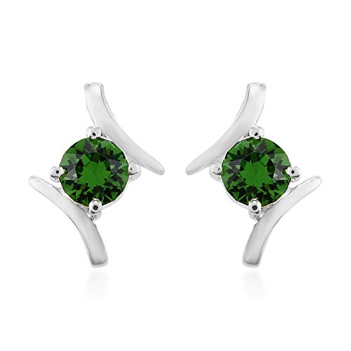 J Francis Stud Earrings Made with Swarovski Green Crystal for Women in 925 Sterling Silver Christmas/New Year Gift for Her, TCW 1ct