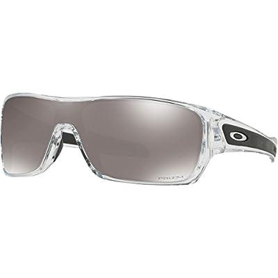 Oakley Men's OO9307 Turbine Rotor Rectangular Sunglasses, Polished Clear/Prizm Black Polarized, 32 mm